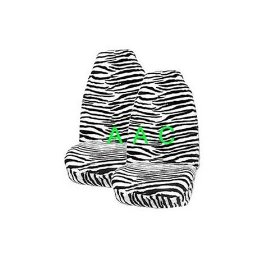 Show details of Set of 2 Universal-fit Animal Print Front Bucket Seat Cover - Black and White Zebra.