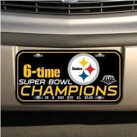 Show details of Pittsburgh Steelers Super Bowl XLIII Champions Black Plastic License Plate.