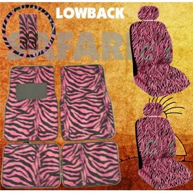 Show details of 11pc Safari Pink Zebra Print Car Floor Mats, Low Back Seat Covers, Steering Wheel Cover & Shoulder Pad Set.