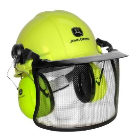 Show details of AO Safety 93123 John Deere High Visibility Forestry and Chainsaw Helmet.