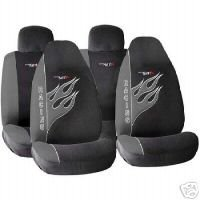 Show details of Matrix Grey Black Flames Front Rear Seat Covers Set.