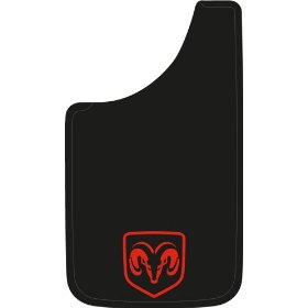 "Show details of Dodge Ram Logo 11""x19"" Easy Fit Mud Guards - Set of 2."
