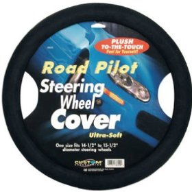 Show details of Custom Accessories CU038550 Road Pilot Ultra-Soft Steering Wheel Cover-Black.